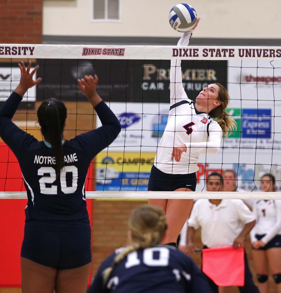 Taylor Duryea (4), Dixie State University vs. Notre Dame de Namur University, Volleyball, St. George, Utah, Sept. 23, 2015, | Photo by Robert Hoppie, ASPpix.com, St. George News