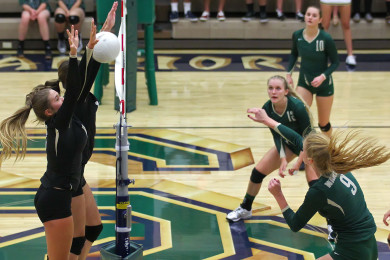 Nikenna Durante (9) hits for Snow Canyon, Snow Canyon vs. Desert Hills, Volleyball, St. George, Utah, Sept. 24, 2015, | Photo by Robert Hoppie, ASPpix.com, St. George News