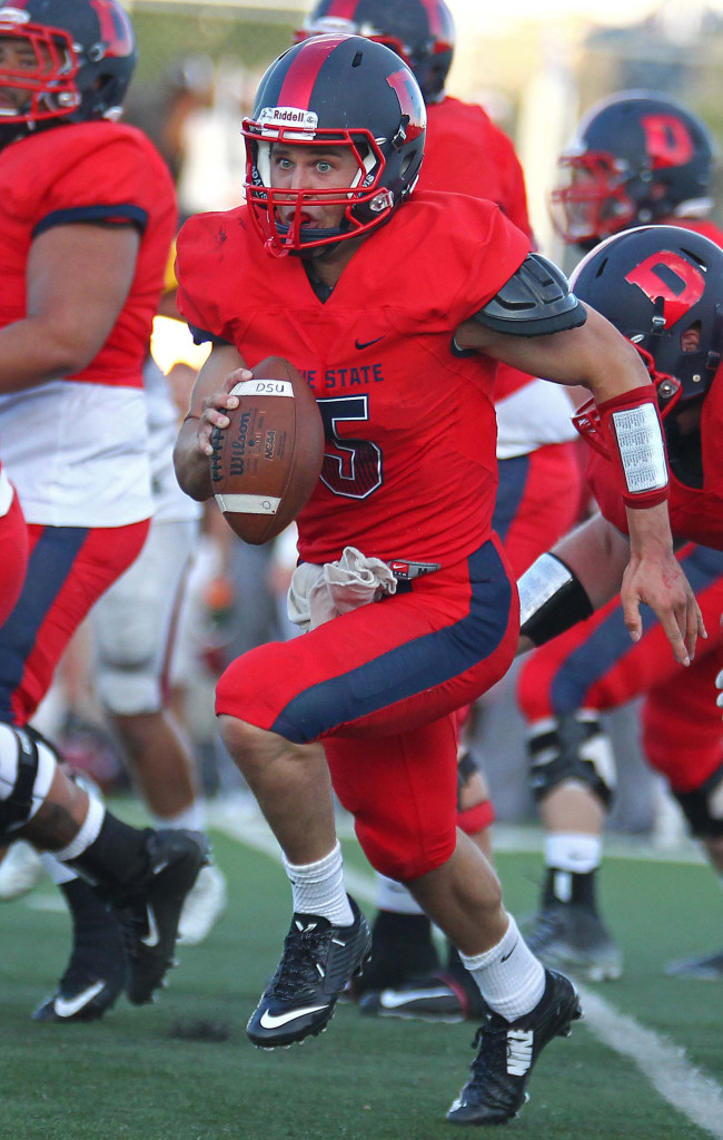 Former Dixie High quarterback Blake Barney (5) heads up field for some yardage for the Red Storm, Dixie State University vs. Colorado Mesa University, Football, St. George, Utah, Sept. 5, 2015, | Photo by Robert Hoppie, ASPpix.com, St. George News
