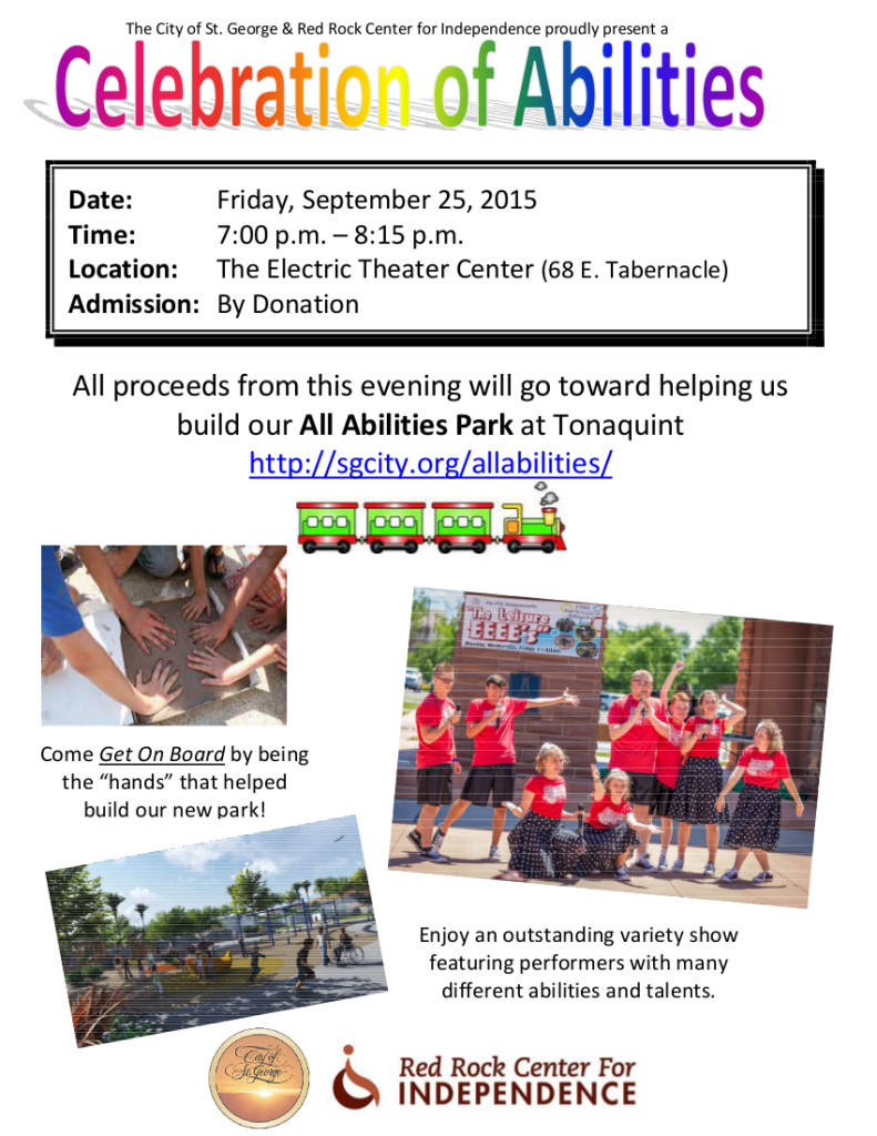A flyer for the All Abilities Park fundraiser   Photo courtesy of the City of St. George, St. George News