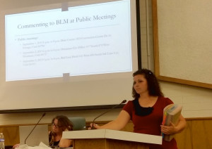 Deputy County Attorney Celeste Maloy speaks to the planning commission Tuesday about the BLM's draft management plans, St. George, Utah, Sept. 8, 2015   Photo by Julie Applegate, St. George News
