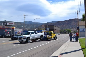 Driver misses redlight and smashes into another car tearing off the bumper, 300 West and 200 North, Cedar City, Utah, September 3, 2015   Photo by Emily Hammer, St. George News