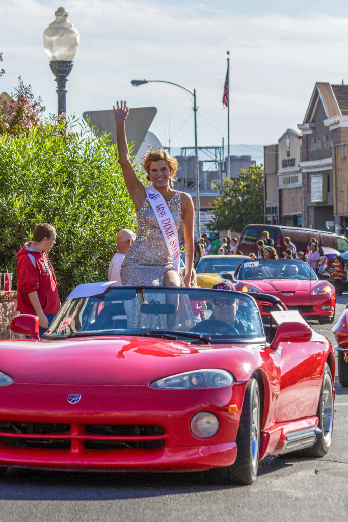 Sarah Thompson, the winner of the 2014 Miss Dixie State Homecoming Queen Pageant, waves to the crowd during last year's Homecoming parade, location and date unspecified | Photo courtesy of Dixie State University, St. George News