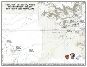 The Hildale flood incident management team produced a map of Hildale, Utah, and Colorado City, Arizona, showing the flash flood victim recovery locations as of 4 p.m., Sept. 17, 2015 | Photo courtesy of WashCoSafety, St. George News | Click on image to enlarge