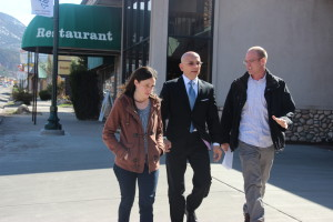 """Host Anthony Melchiorri walks and talks with Steve and Gina Nelson, owners of the Stratford Court Hotel, to be featured in September 2015 on Travel Channel's """"Hotel Impossible."""" Cedar City, Utah, March 2014 