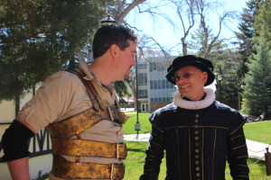 """Travel Channel's """"Hotel Impossible"""" host Anthony Melchiorri switches gears from hotel fixer to Shakespeare play actor, getting into character to perform a scene at the Utah Shakespeare Festival near the Stratford Court Hotel, Stratford Court Hotel, Cedar City, Utah, March 2014 