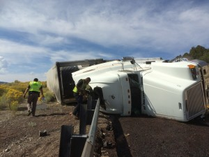A semitruck rolled after taking a sharp turn on SR-20, Garfield County, Utah, Sept. 13, 2015 | Photo by Emily Hammer, St. George News