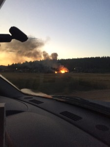 The view as pizzeria owners drove to the fire that destroyed their business early Wednesday morning, Hot Mam's Pizza & Brew, Duck Creek Village, Utah, September 9, 2015 | Courtesy of Ashley Romero, St. George News