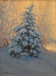 """December Morning"", landscape painting, Cedar City, Utah, 2015 | Courtesy of Travis Humphreys, St. George News"