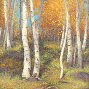 """Kolob Quakies"", landscape painting, Kolob Mountain, Utah, 2015 | Courtesy of Travis Humphreys, St. George News"