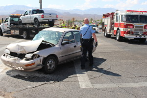 Three vehicle collision that occurred on Sunset Boulevard and Westridge Drive, St. George, Utah, Sept. 5, 2015 | Photo by Jessica Tempfer, St. George News