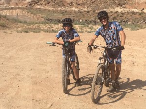 L-R Jensen Werner and Ethan Hurst pause for a photo at the Bear Claw Poppy Trail, St. George, Utah, Sept. 9, 2015 | Photo by Hollie Reina, St. George News