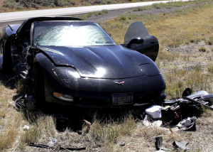 One woman is sent to the hospital following a single-car spinout on Interstate 15 near New Harmony, Utah, Sept. 24, 2015 | Photo by Carin Miller, St. George News