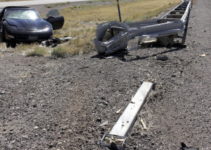 One woman is sent to the hospital following a single-car spinout on Interstate 15 near New Harmony, Utah, Sept. 24, 2015   Photo by Carin Miller, St. George News