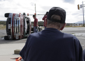 A woman is sent to the hospital following a three-vehicle accident at Highway 56 and Lund Road, Cedar City, Utah, Sept. 26, 2015 | Photo by Carin Miller, St. George News