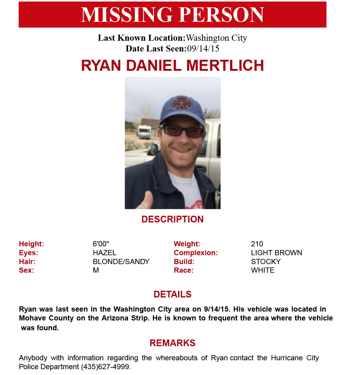 Missing Person: Ryan Mertlich | Sept. 17, 2015, Flyer Courtesy Of Hurricane  Missing Person Flyer