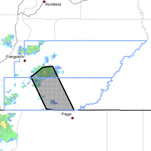 Dots indicate the area subject to flood warning, 3:15 p.m., Sept. 15, 2015, Kane County, Garfield County | Photo courtesy of the National Weather Service, St. George News | Click map to enlarge