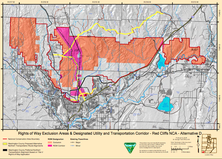 In Alternative D, the proposed BLM corridor is shown in pink, Washington County's preferred northern corridor route is shown in black, and the yellow lines denote other routes the county has studied | Image courtesy of BLM