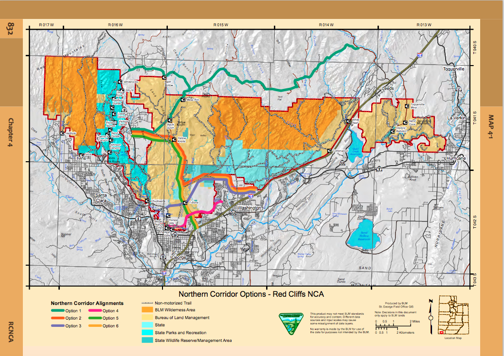 Alternative D of the draft resource management plans include several options for east-west transportation corridors | Image courtesy of BLM