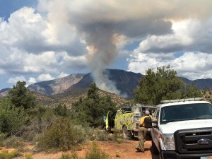 A fire near Pine Valley Mountain caused the Oak Grove Campground to be evacuated, Washington County, Utah, Sept. 8, 2015 | Photo by Mori Kessler, St. George News