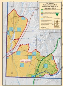 Proposed Old Spanish National Historic Trail corridor in the BLM's draft RMP for the Beaver Dam Wash National Conservation Area   Image courtesy BLM