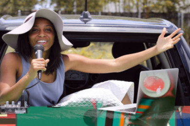 Nicole Javanna Johnson broadcasts live from the back of her BMW Mini Cooper as the host of M.O.V.E. RADIO, location and date unspecified | Photo courtesy of M.O.V.E. RADIO, St. George News