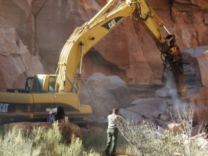 Heavy equipment being used to break apart large boulders from a rockfall on the Zion-Mount Carmel Highway that closed the east side of Zion National Park, Springdale, Utah, Sept. 24, 2015 | Photo courtesy of Zion National Park, St. George News
