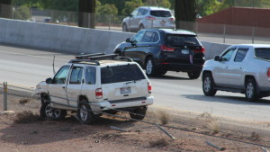A single car accident at mile marker 8 on I-15 totaled an SUV and damaged 100 feet of cable barrier, St. George, Utah, Sept. 21, 2015 | Photo by Julie Applegate, St. George News