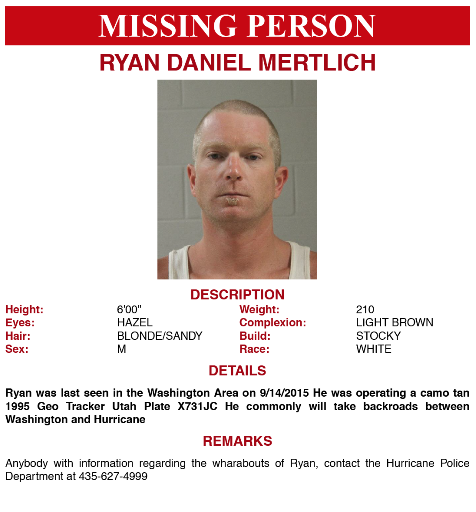 Missing person: Ryan Mertlich | Sept. 16, 2015, Flyer courtesy of Hurricane City Police Department, St. George News | Click on image to enlarge