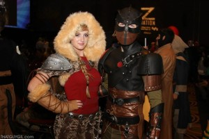 "(R-L) Jenessa McElryea and Ryan Bird as Astird and Hiccup from ""How to Train Your Dragon 2"" at the 2014 Salt Lake Comic Con, Salt Lake City, Utah, September 2014 