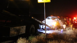 Aftermath of a failed U-turn attempt on Bluff Street just north of the Red Hills Parkway Interchange, St. George, Utah, Sept. 11, 2015 | Photo by Mori Kessler, St. George News