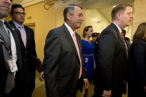 House Speaker John Boehner of Ohio leaves a meeting with House Republicans on Capitol Hill in Washington, Friday, Sept 25, 2015. In a stunning move, Boehner informed fellow Republicans on Friday that he would resign from Congress at the end of October, giving up his top leadership post and his seat in the House in the face of hardline conservative opposition, Washington, D.C., Sept. 25, 2015 | AP Photo by Jacquelyn Martin, St. George News