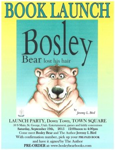 Bosley Bear book launch flier | Image courtesy of Jeremy Bird, St. George News
