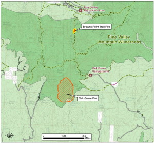 Map detailing the relative locations of the Oak Grove and Brown Trail fires | Click to enlarge | Image courtesy of the U.S. Forest Service, St. George News