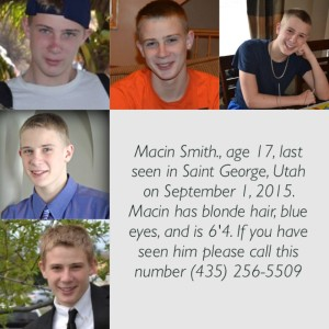 Macin Smith, missing since Tuesday, Sept. 1, 2015, St. George, Utah, undated | Photo courtesy of Tracey Smith, St. George News