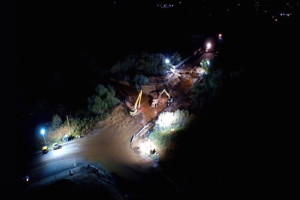 Aerial shot of an area where crews are clearing out debris left in the wake of fatal flash flooding in Hildale that has claimed a number of lives and left other missing, Hildale, Utah, Sept. 15, 2015 | Photo by Michael Durrant, St. George News