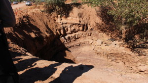 "Site of the fatal flash flood where a ""wall of water"" came down and washed away two vehicles, a SUV and van containing 16 people between them. The incident left 12 people dead and one missing. The site was surveyed by Gov. Gary Herbert during his visit to Hildale, Utah, Sept. 19, 2015 
