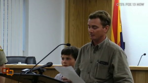 Joesph Jessop, husband of Noami and Josehine Jessop, addresses media. Jessop lost his wives and seven of his children to the flash flooding the hit Hildale Monday, Hildale, Utah, Sept. 16, 2015 | Photo courtesy of Fox13 News, St. George News