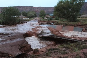 Road damage caused during the flash floods that left a number of people dead and others missing in Hildale, Utah, Sept. 15, 2015 | Photo courtesy of Washington County Emergency Services, St. George News