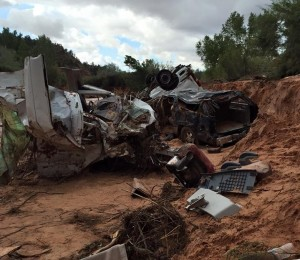 Remains of the two vehicles believed to have been involved in the fatal flooding incident on Short Creek that has left a number of people dead and others missing, Sept. 15, 2015 | Photo courtesy of Guy Timpson, St. George News