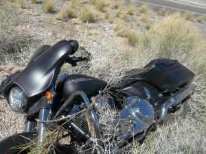 Motorcycle involved in a crash on I-15 that claimed the life of 63-year-old Terry Schwartz, of Minnesota, Virgin River Gorge, Arizona, Sept. 25, 2015 | Photo courtesy of the Arizona Department of Public Safety, St. George News