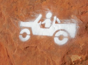 Small stenciled Jeep emblems are painted on slick rock portions of rock-crawling trails at the Sand Hollow OHV Area. Hurricane, Utah, Sept. 26, 2015 | Photo courtesy Desert RATS, exclusive to St. George News