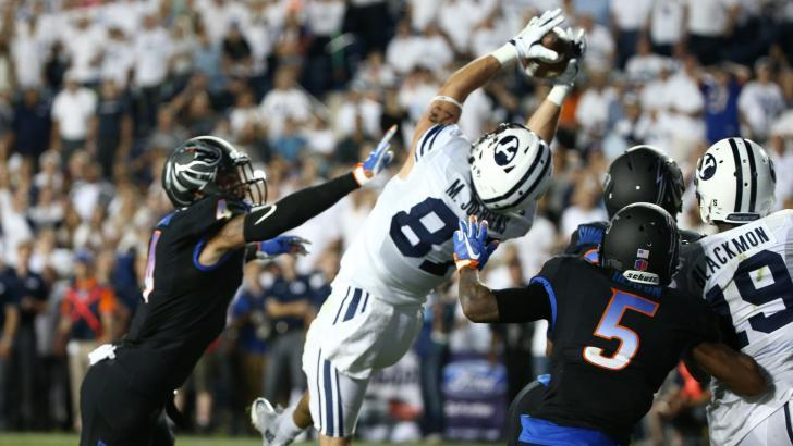 Mitchell Juergens caught the go-ahead pass last year against Boise State. | Photo courtesy BYU Athletics