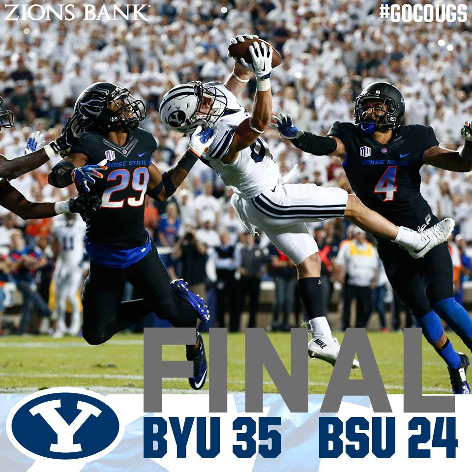 Cougars receiver Mitchell Jurgens catches a TD pass late in the game, BYU vs. Boise State, Provo, Utah, Sept. 12, 2015   Photo courtesy BYU Athletics