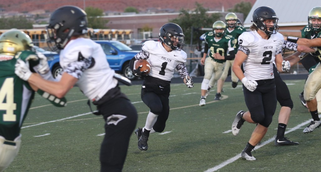 Lance Mandrigues [1] may be a factor on both sudes of the ball for Pine View.. File photo from Snow Canyon vs. Pine View, Football, St. George, Utah, Sept. 18, 2015, | Photo by Kevin Luthy, St. George News