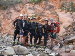 Self portrait of the group before the first rappel of Keyhole Canyon on Monday, Sept. 14, 2015. Pictured from left: Gary Favela, Don Teichner, Muku Reynolds, Steve Arthur, Linda Arthur, Robin Brum and Mark MacKenzie, Zion National Park, Utah, Sept. 14, 2015 | Photo courtesy of Zion National Park, St. George News