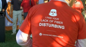 """One of the t-shirts given out today at the ribbon-cutting of Tonaquint Network's first """"fiberhood"""", St. George, Utah, Sept. 3, 2015   Photo by Kassi Gillette, St. George News"""