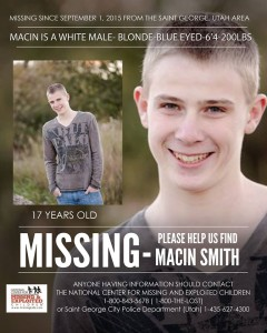 Flyer published regarding Macin Smith's disappearance, St. George, Utah, photo courtesy of the National Center for Missing and Exploited Children, St. George News