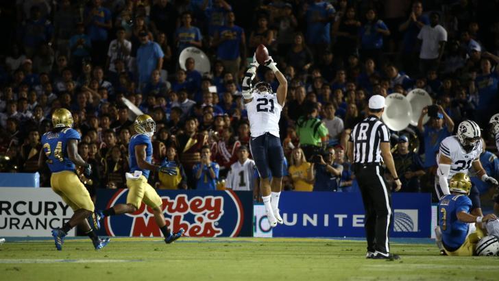 Harvey Langi makes an interception, BYU at UCLA, Anaheim, Calif., Sept. 19, 2015 | Photo courtesy BYU Athletics