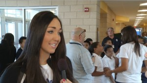 """Krissia Beatty, this year's Miss Utah, is interviewed during a """"Miss America Serves"""" project in Atlantic City, New Jersey, September 2015 